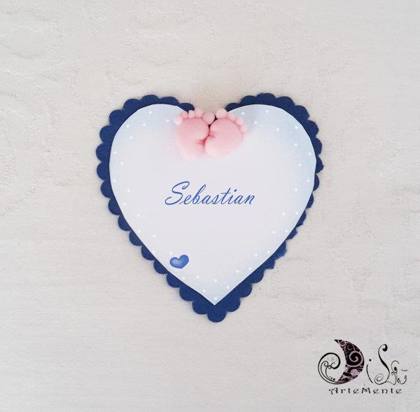 Card Art battesimo segnaposto piedini etichette cuore smerlate blu navy
