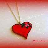 Collana con ciondolo in fimo elegante handmade rosso idee regalo san valentino donna