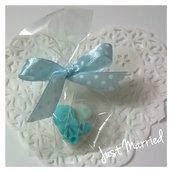 Segnaposto battesimo, idea per nascita, confetti decorati, azzurro