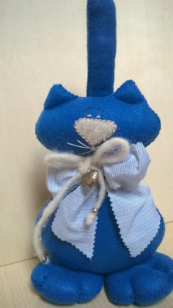 Gattone fermaporta in panno colore azzurro