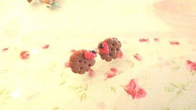 ORECCHINI PERNO  -BISCOTTINI e fruttini      - FIMO - adatto anche a bambine  - kawaii