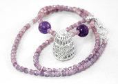 Gabbietta in puro argento con collana in mezzo cristallo glicine e perle di vetro viola