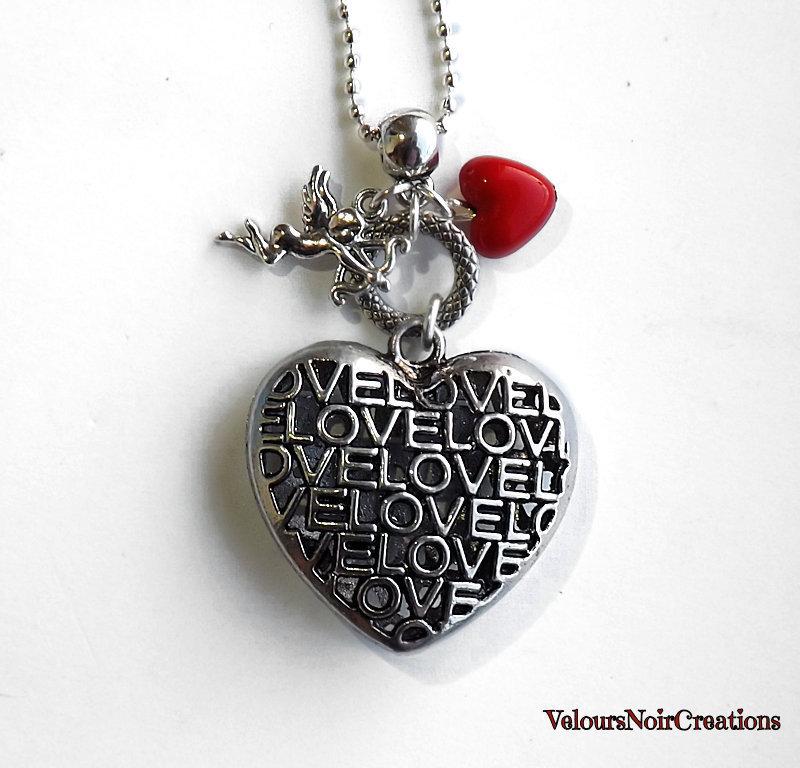 Collana con cuore con scritta love e cupido