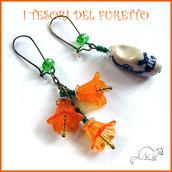 """Orecchini  """" Zoccolo olandese e fiori"""" arancione lucite ceramica bronzo idea regalo san valentino eleganti"""