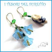 """Orecchini  """" Zoccolo olandese e fiori"""" azzurro fiori  lucite ceramica bronzo idea regalo san valentino eleganti"""