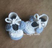Scarpine ballerine bianche e blu ghiaccio con fiocco e cuoricini - in lana e alpaca