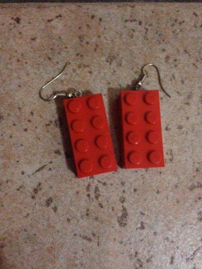 orecchini pendenti con mattoncini LEGO ROSSI