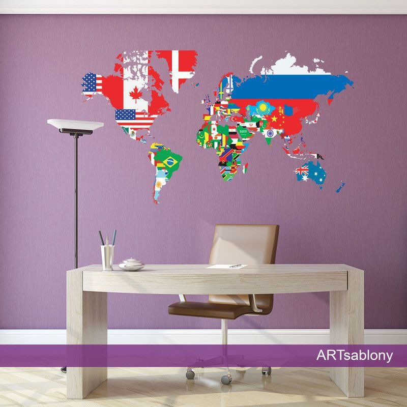 Adesivi colorati Mappa con le bandiere (3435f)