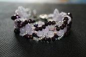 Bracciale con perle di quarzo rosa e cristalli color ametista