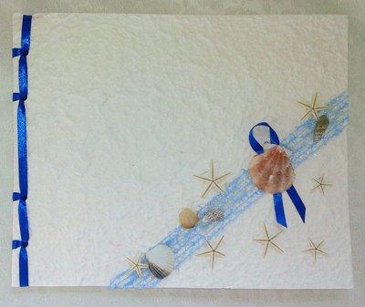 Guest book matrimonio in carta cotone tema marino