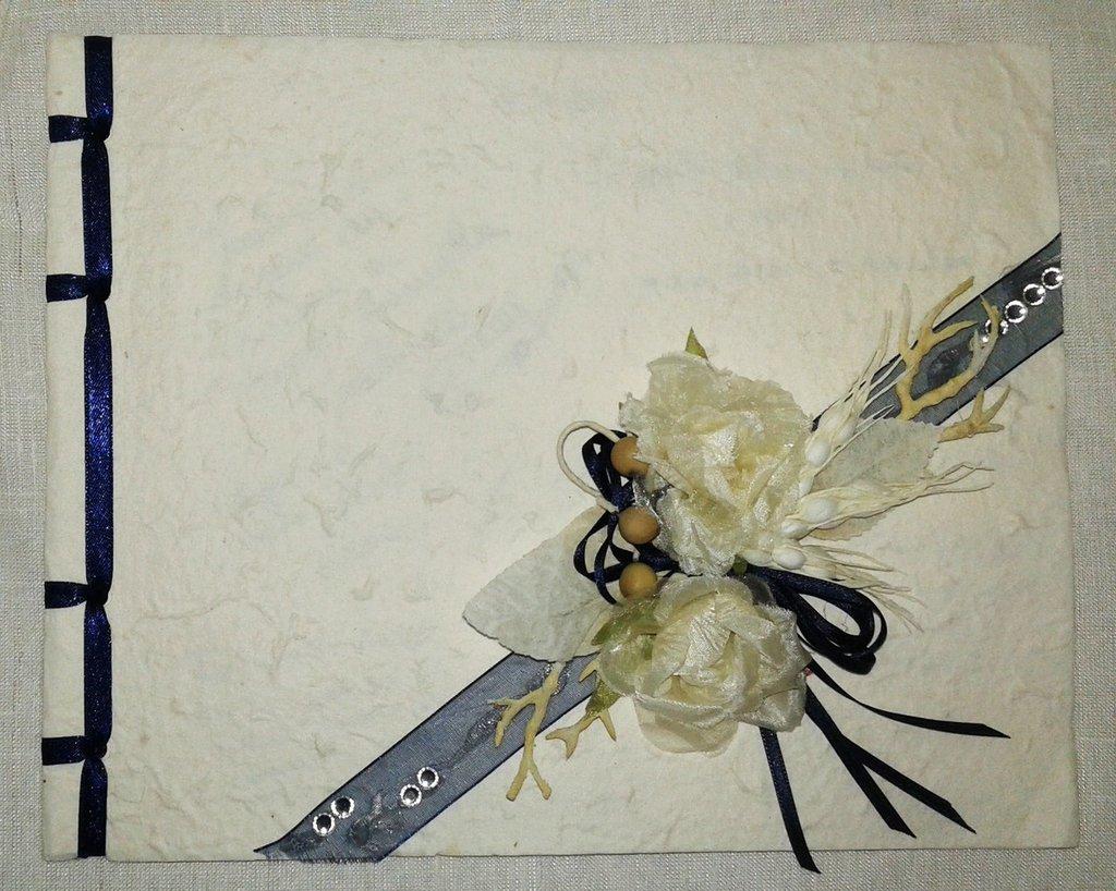 libro ospiti nozze in carta cotone blu notte