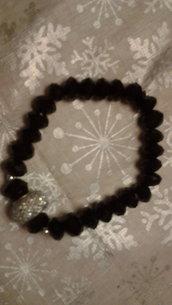 Bracciale nero in Onice con centrale sfera di cristalli