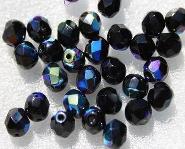 20 perle mezzo cristallo JET ( NERO ) IRIS - 6 mm