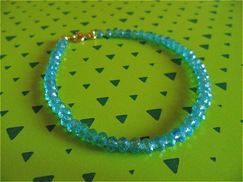 Bracciale donna perline azzurre trasparenti