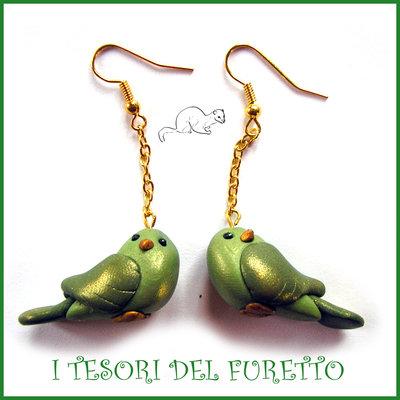 """Orecchini  """"Uccellini innamorati"""" San Valentino Bird verde oro  dea regalo catenella dorata kawaii"""