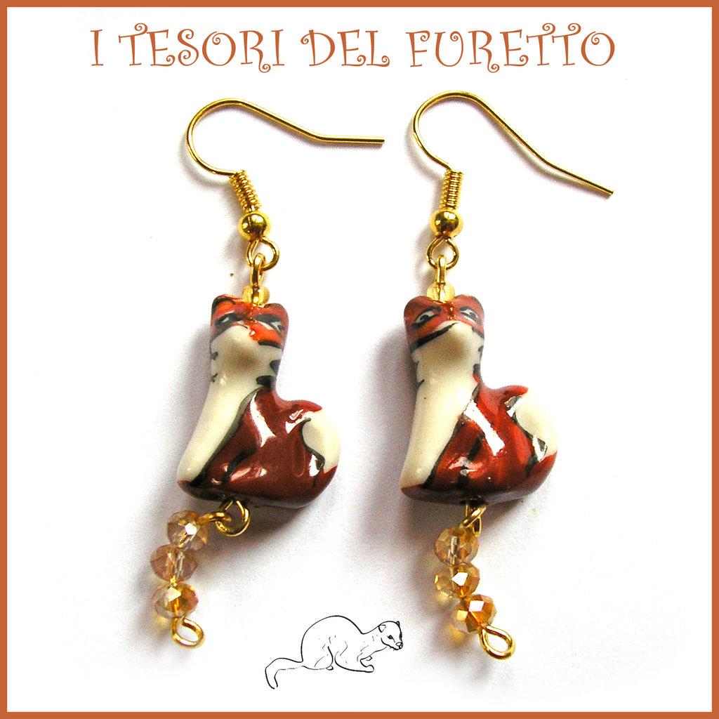 """Orecchini  """" Volpi """"  ceramica catenella dorata porcellana idea regalo mamma Natale"""