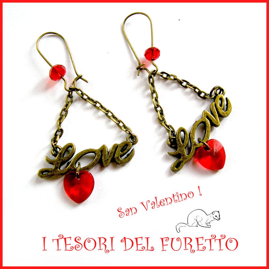 """Orecchini  """" Love Red """"  San Valentino idea regalo bronzo eleganti cristalli charm cuore"""