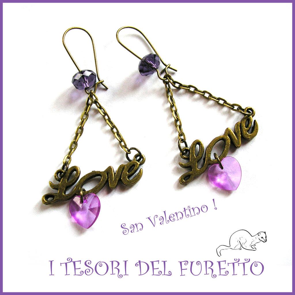 """Orecchini  """" Love violet """"  San Valentino idea regalo bronzo eleganti cristalli charm cuore"""