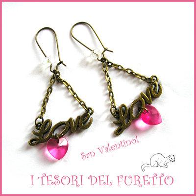 """Orecchini  """" Love Pink """"  San Valentino idea regalo bronzo eleganti cristalli charm cuore"""