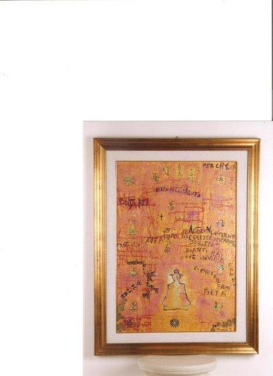 quadro ad olio con quadrifogli veri, simboli, aforismi e disegni esoterici benefici