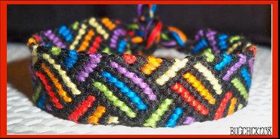 Braccialetto cotone colorato con effetti 3d multicolor