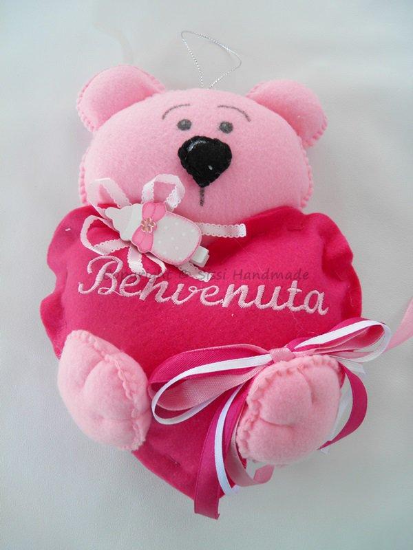 Fiocco nascita benvenuta orsetto rosa in pannolenci