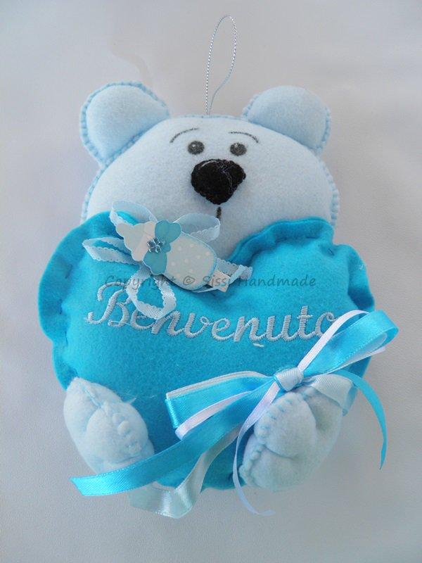 Fiocco nascita benvenuto orsetto azzurro in pannolenci