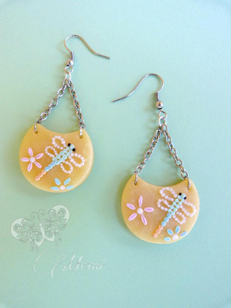 Orecchini chandelier con libellule - handmade - fimo -