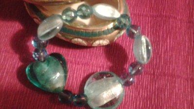 bracciale in cristallo acquamarina con cuore