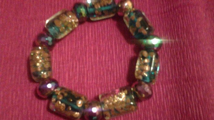 bracciale caramelle in cristallo italiano color azzurro mare con schizzi dorati