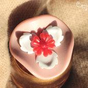 Spilla rosa e bianca con fiori vintage -  S.10.2016