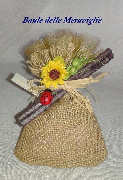 Bomboniera matrimonio sacchetto di juta con girasole