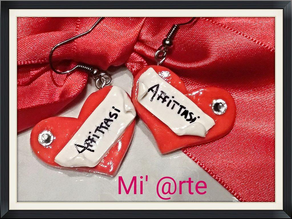 orecchini pendenti in fimo collezione San Valentino