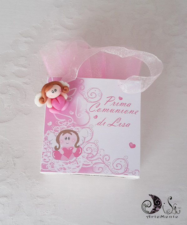 Bomboniera comunione gift bags portaconfetti angioletto per bimba