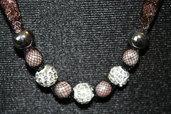 Collana in rete tubolare con cristalli swarovski e perle
