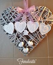 Fuoriporta Home Shabby Chic con cuore e gessetti (SU RICHIESTA)