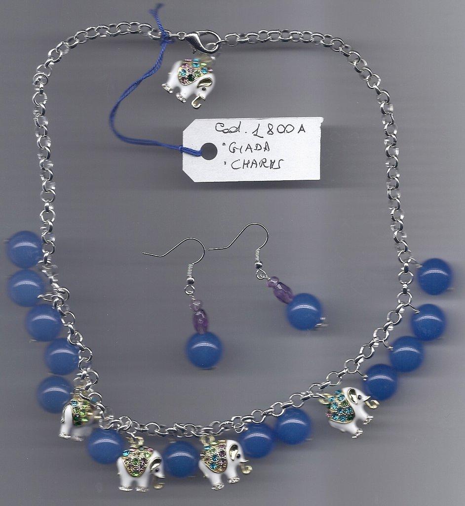 Completo con agata blu ed elefantini charms.