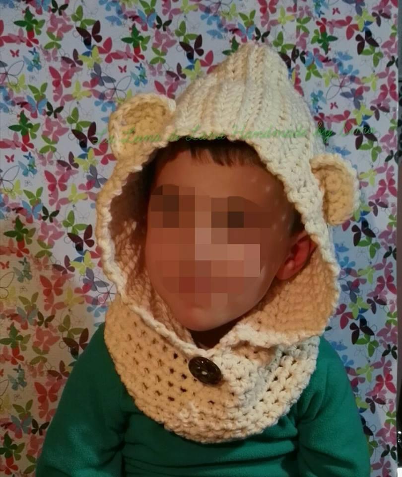 Cappuccio uncinetto  a forma di orsetto con scalda collo per bambino o bambina