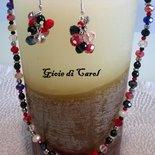 Parure di collana e orecchini con mezzi cristalli