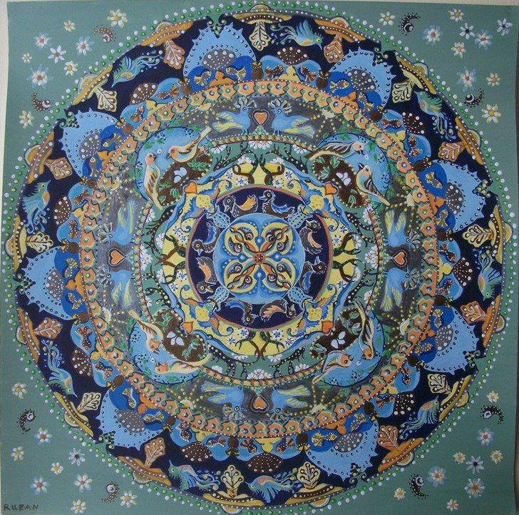 Mandala ' Vive in continuità'  dipinto originale, dipinto artistico 35 x 35 cm., colori acrilici, color bronzo e d'argento su carta
