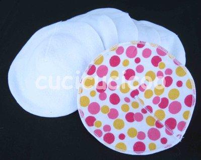 set di 6 coppette assorbilatte lavabili (pois fuchsia) / set of 6 cloth nursing pads