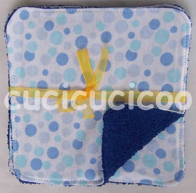 salviette cambio bebe lavabili  (pois celesti)/ set of 5 cloth wipes