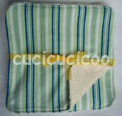 salviette cambio bebe lavabili  (strisce verdi)/ set of 5 cloth wipes