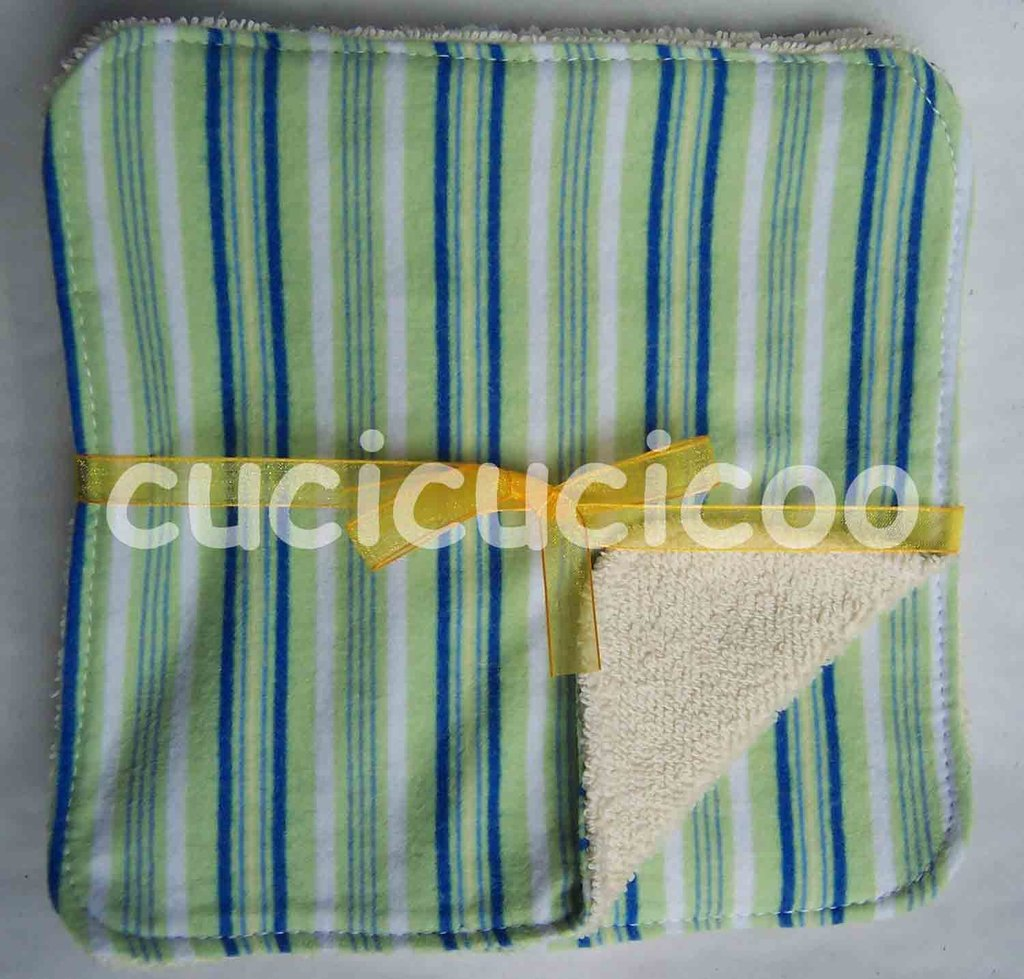 salviette cambio bebe lavabili  (strisce verdi)/ set of 5 cloth wipes