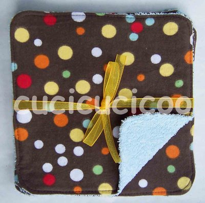 salviette cambio bebe lavabili  (pois su marrone)/ set of 5 cloth wipes