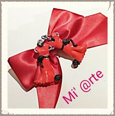 orecchini pendente abito in rosso fimo