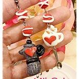 orecchini pendenti in fimo San Valentino Io e te come il latte e caffè