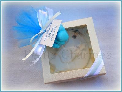 Bomboniera scatola con medaglione in gesso Angelo stilizzato