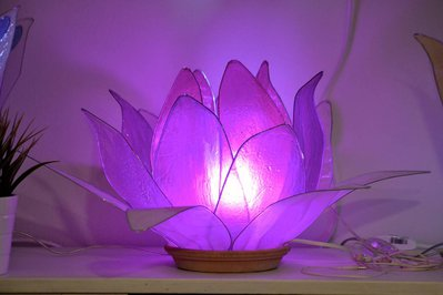 lampada fiore di loto viola