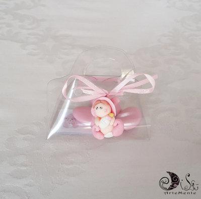 Bomboniera battesimo ciondoli folletti bebè con scatolina borsetta portaconfetti pvc e bigliettini